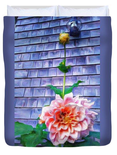 Peach Dahlia In Oil Duvet Cover
