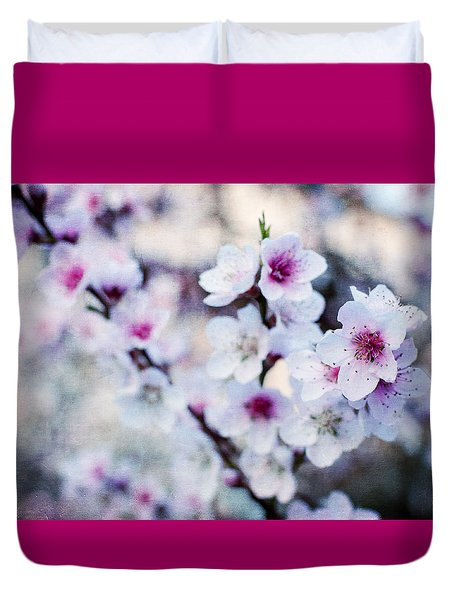 Duvet Cover featuring the photograph Peach Flowers by Laura Melis