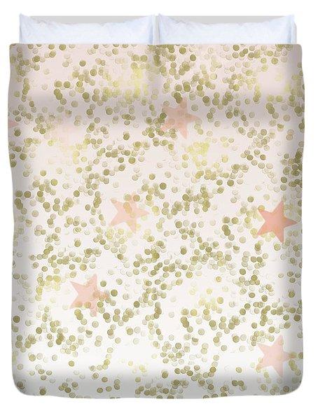 Peach Gold Confetti Stars Duvet Cover