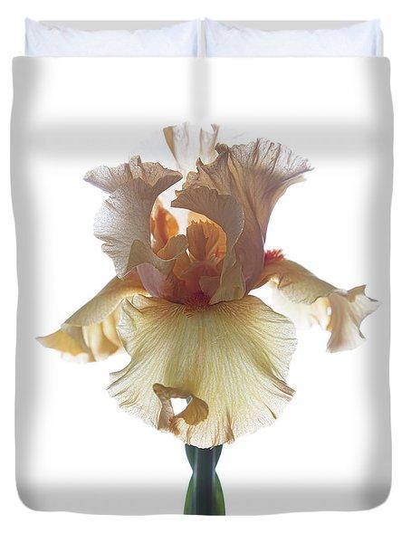 Peach Iris Duvet Cover by Elena Nosyreva