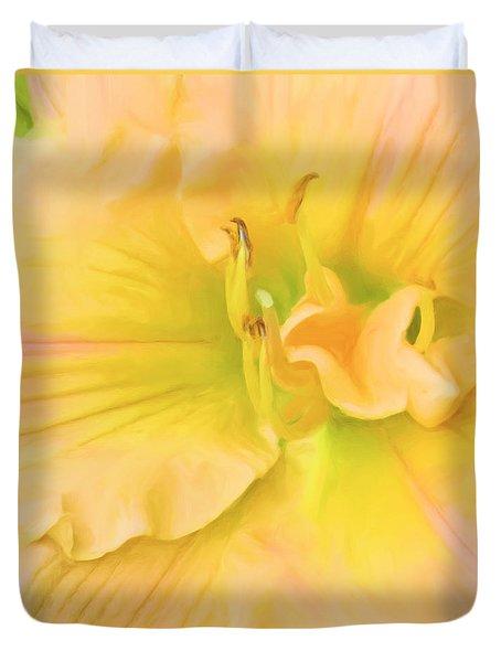 Peach Lily Duvet Cover