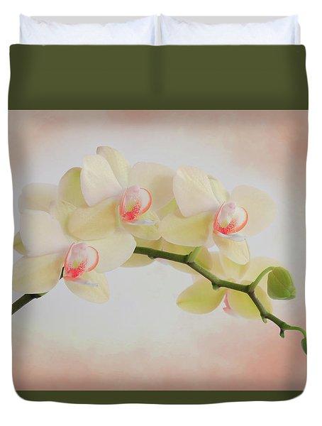 Peach Orchid Spray Duvet Cover