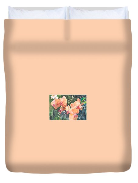 Peach Orchids Duvet Cover by Yolanda Koh