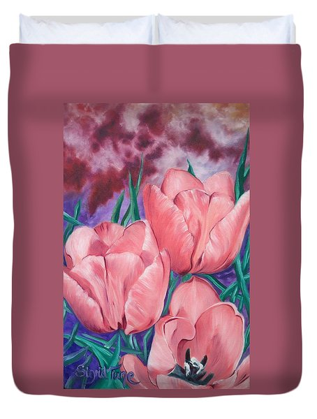 Perennially Perfect  Peach Pink Tulips Duvet Cover