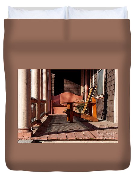 Peach Porch Duvet Cover by Betsy Zimmerli
