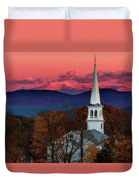 Peacham And White Mtn Sunset Duvet Cover by Tim Kirchoff