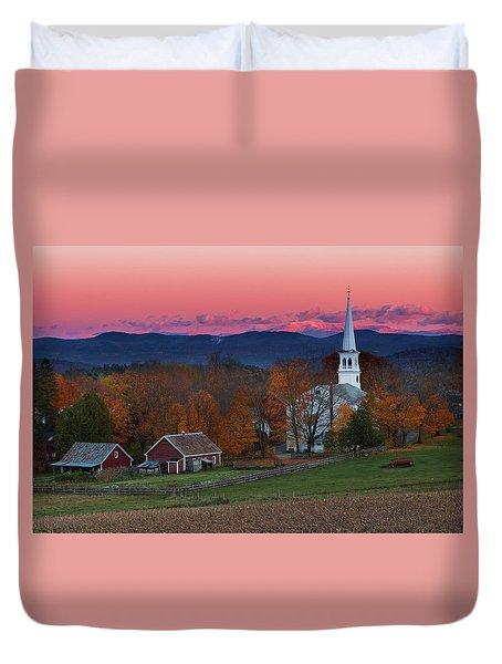 Peacham Village Fall Evening Duvet Cover
