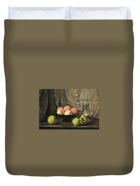 Peaches, Pears, Silver Coffeepot Duvet Cover