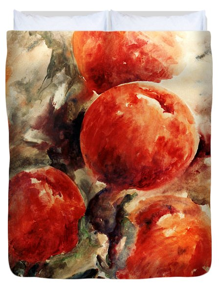 Peaches Duvet Cover by Rachel Christine Nowicki