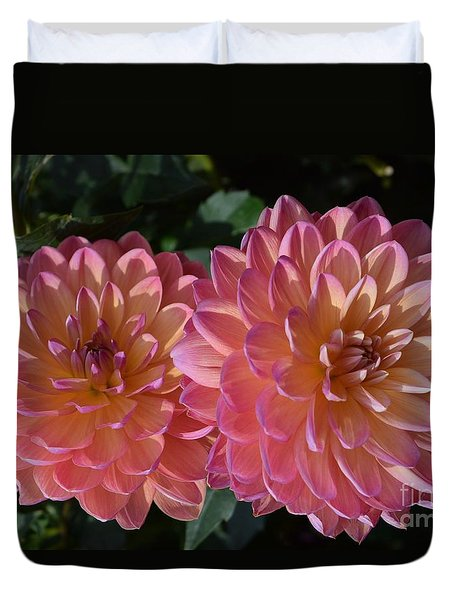 Peachy Dahlias Duvet Cover