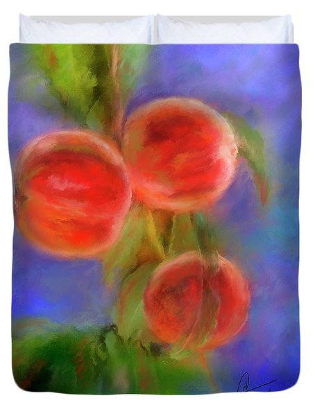 Peachy Keen Duvet Cover by Colleen Taylor