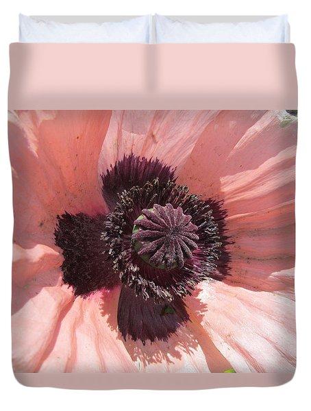 Peachy Poppy Duvet Cover by Tina M Wenger