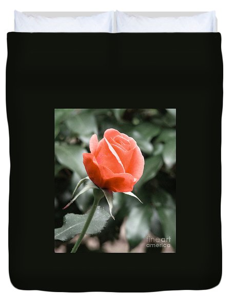 Duvet Cover featuring the photograph Peachy Rose by Rand Herron