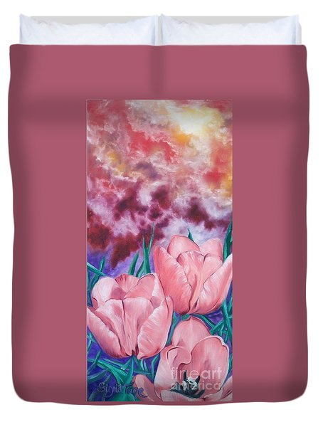 Peachypink Tulips Duvet Cover