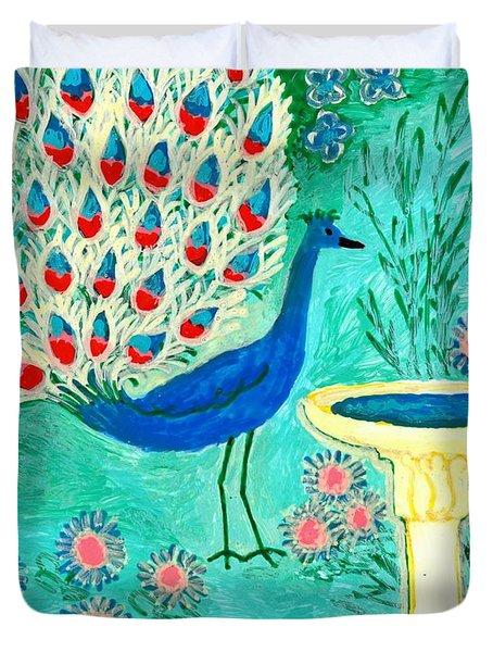 Peacock And Birdbath Duvet Cover by Sushila Burgess