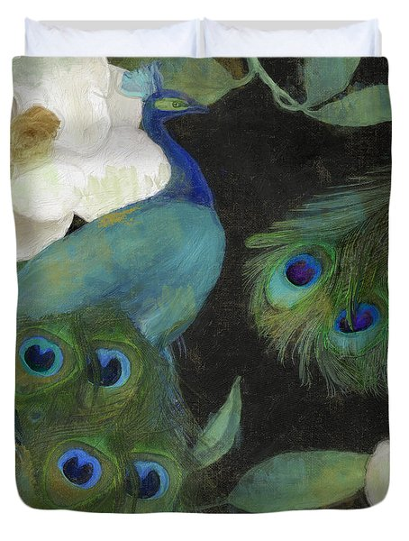 Peacock And Magnolia II Duvet Cover