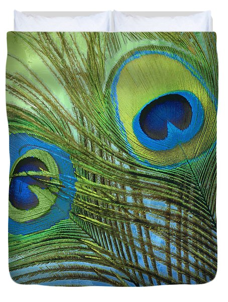 Peacock Candy Blue And Green Duvet Cover by Mindy Sommers