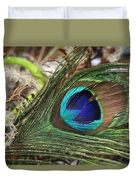 Duvet Cover featuring the photograph Peacock Eye by Living Color Photography Lorraine Lynch