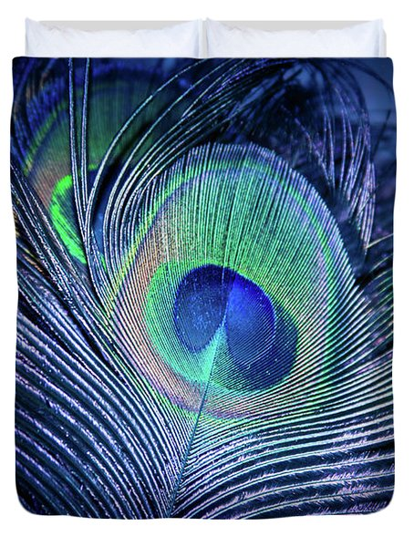 Duvet Cover featuring the photograph Peacock Feather Blush by Sharon Mau