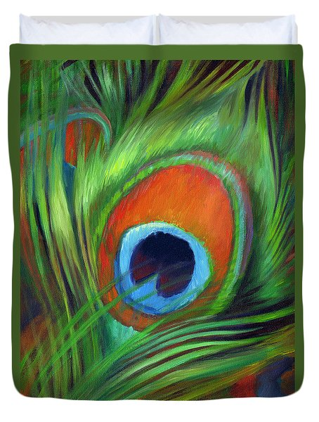 Duvet Cover featuring the painting Peacock Feather by Nancy Tilles