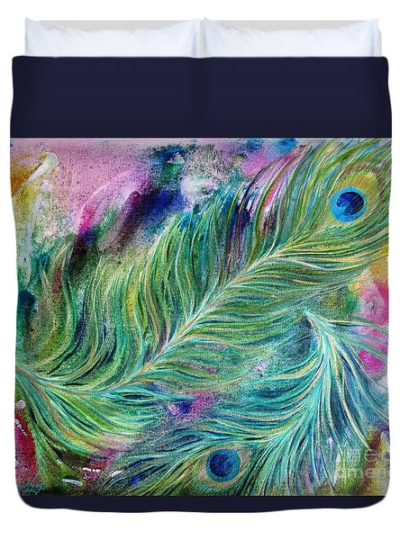 Peacock Feathers Bright Duvet Cover by Denise Hoag
