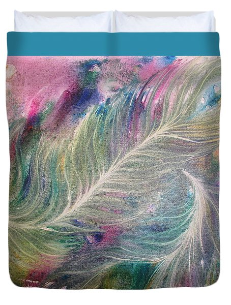 Peacock Feathers Pastel Duvet Cover by Denise Hoag