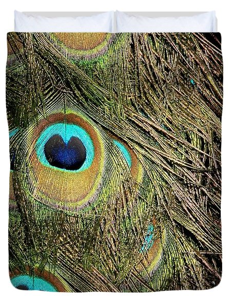 Peacock Feathers Duvet Cover by Sabrina L Ryan