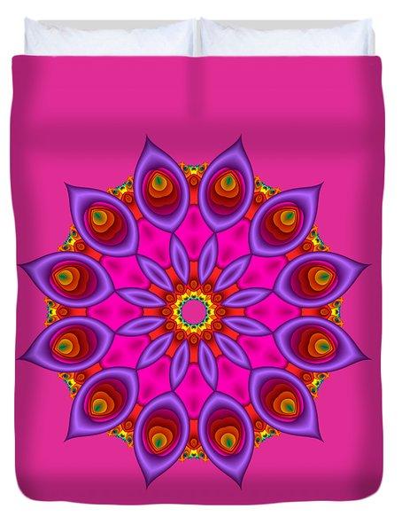Peacock Fractal Flower II Duvet Cover