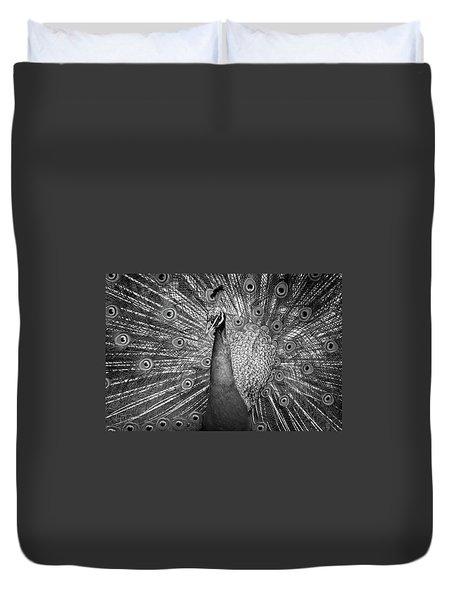 Peacock In Black And White Duvet Cover