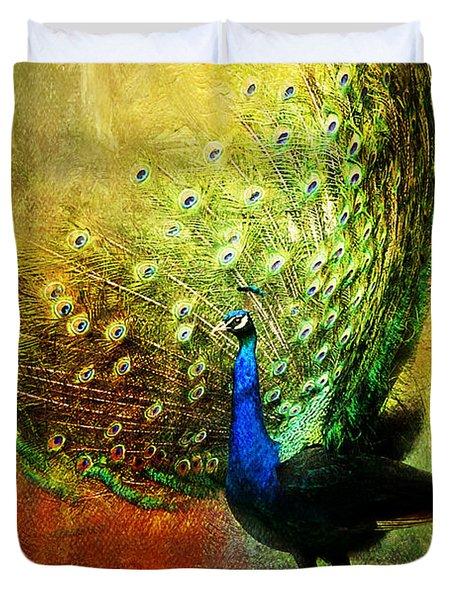 Peacock In Full Color Duvet Cover