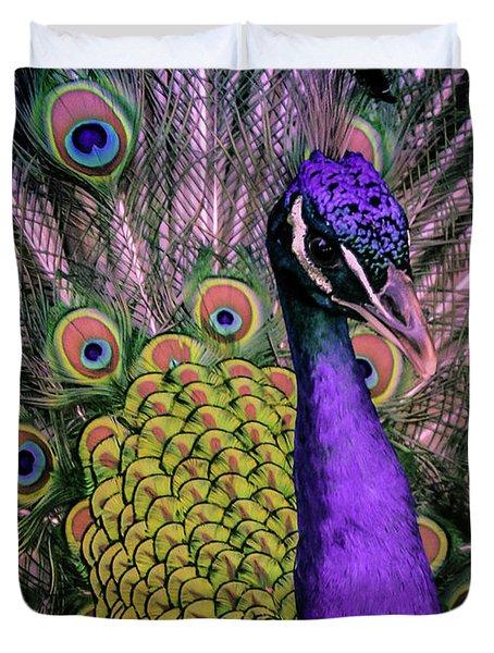 Peacock In Purple 2 Duvet Cover