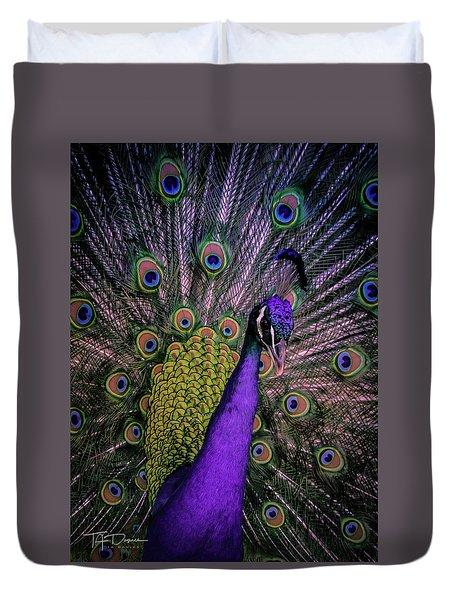 Peacock In Purple Duvet Cover