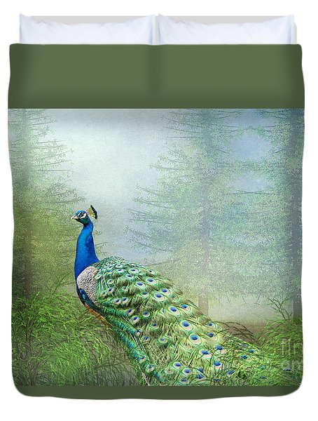 Peacock In The Forest Duvet Cover by Bonnie Barry