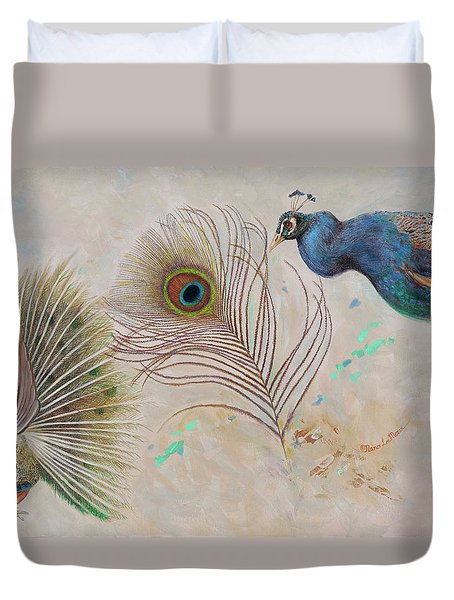 Duvet Cover featuring the painting Peacock In Three Views by Nancy Lee Moran