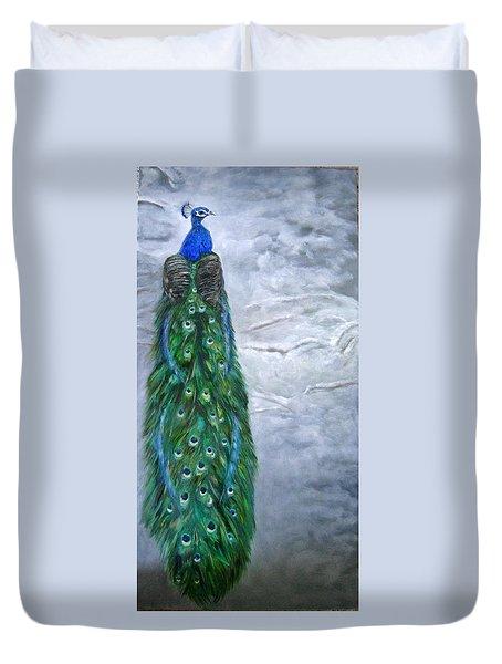 Peacock In Winter Duvet Cover