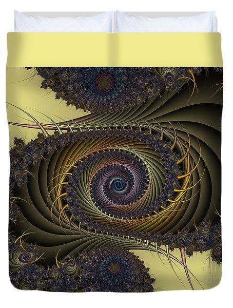 Duvet Cover featuring the digital art Peacock by Karin Kuhlmann