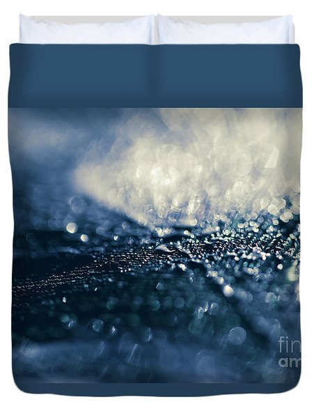 Duvet Cover featuring the photograph Peacock Macro Feather And Waterdrops by Sharon Mau