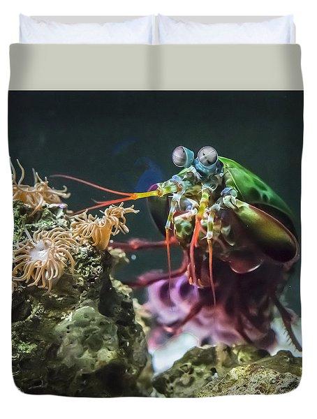 Peacock Mantis Shrimp Profile Duvet Cover