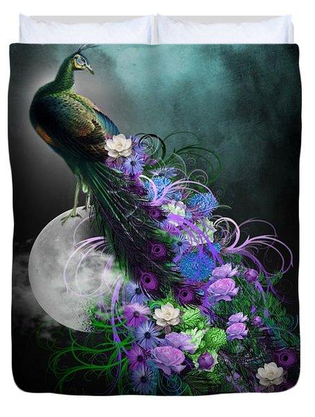 Peacock Of  Flowers Duvet Cover