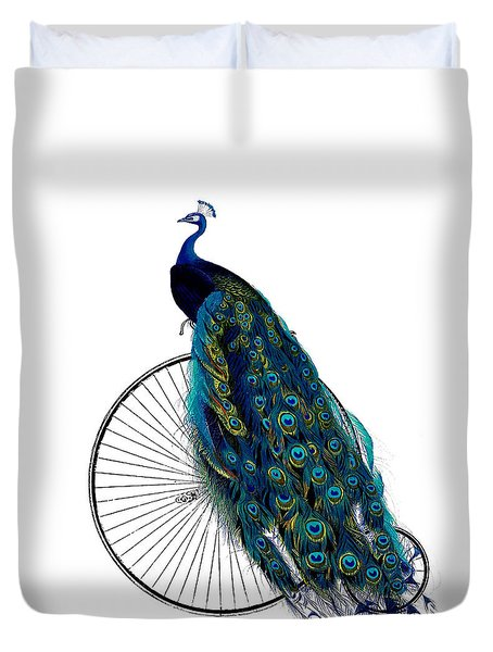 Peacock On A Bicycle, Home Decor Duvet Cover