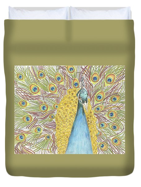 Duvet Cover featuring the drawing Peacock One by Arlene Crafton