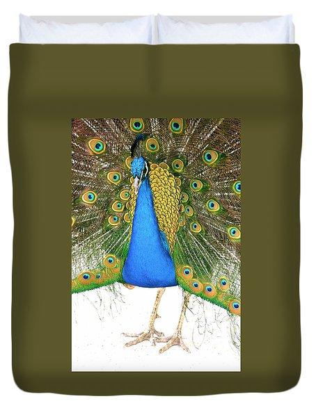 Peacock Presence Duvet Cover
