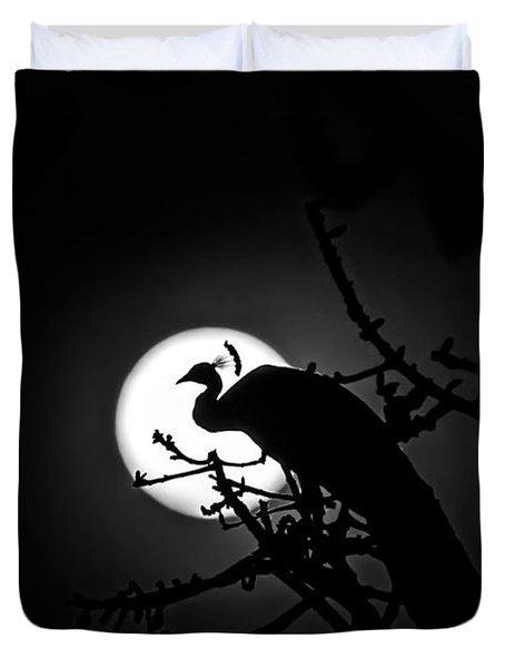 Peacock Roosting Against Full Moon. Duvet Cover