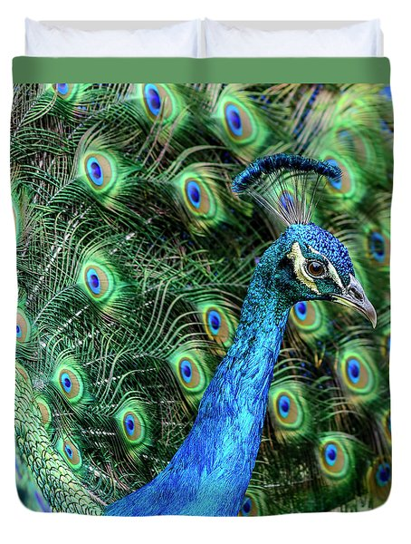 Duvet Cover featuring the photograph Peacock by Steven Sparks