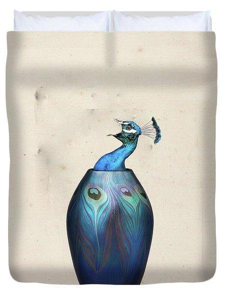Peacock Vase Duvet Cover