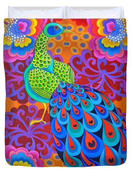 Peacock With Flowers Duvet Cover
