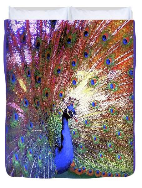 Duvet Cover featuring the painting Peacock Wonder, Colorful Art by Jane Small