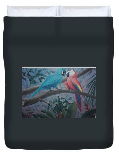 Peacocks In The Jungle Duvet Cover