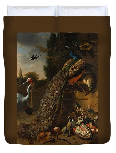 Duvet Cover featuring the painting Peacocks by Melchior d'Hondecoeter