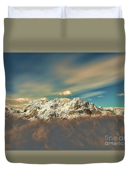 Duvet Cover featuring the sculpture Peak In The Clouds by Dave Luebbert